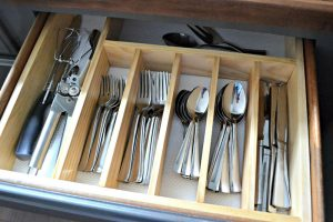 Silverware inside a drawer
