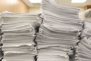 Tall stacks of printer paper